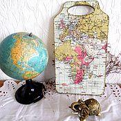 """Подарки к праздникам ручной работы. Ярмарка Мастеров - ручная работа Доска """"Карта мира"""". Handmade."""