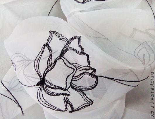 Текстиль, ковры ручной работы. Ярмарка Мастеров - ручная работа. Купить Вуаль белая с черными цветами для штор. Handmade. шторы