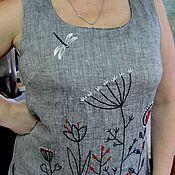 Одежда ручной работы. Ярмарка Мастеров - ручная работа Летнее платье льняное с ручной вышивкой. Handmade.