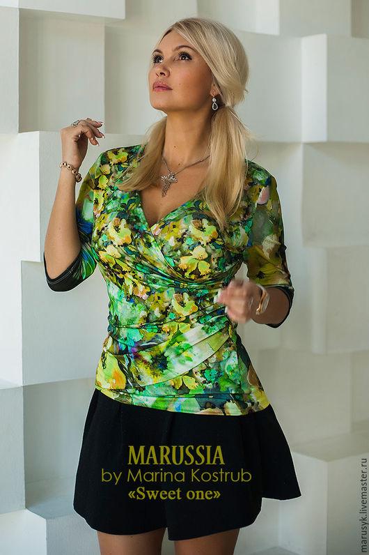 Блузки ручной работы. Ярмарка Мастеров - ручная работа. Купить Блузка НВ-45. Handmade. Ярко-зелёный, блузка офисная