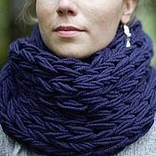 Аксессуары ручной работы. Ярмарка Мастеров - ручная работа Синий шарф снуд крупной вязки. Handmade.
