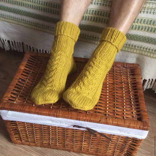 Носки, Чулки ручной работы. Ярмарка Мастеров - ручная работа. Купить Мужские носки сложного желтого цвета. Handmade. Носки