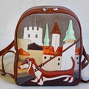 "Сумки и аксессуары handmade. Livemaster - original item Leather backpack ""Dachshund in Riga"". Handmade."
