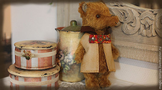 Мишки Тедди ручной работы. Ярмарка Мастеров - ручная работа. Купить Медведь тедди  Захар. Handmade. Оранжевый, подарок на новый год