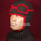 Работы для детей, ручной работы. Ярмарка Мастеров - ручная работа Шапка-шлем Лётчик вязаная для мальчиков, детская, зимняя. Handmade.
