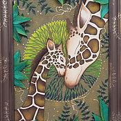 Картины и панно handmade. Livemaster - original item Picture of skin mother`s tenderness. Voluminous panels of leather. Handmade.