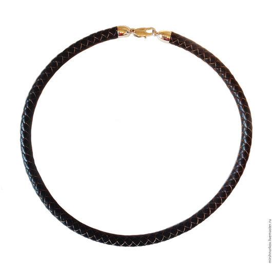 Колье, бусы ручной работы. Ярмарка Мастеров - ручная работа. Купить Шнурок коричневый из плетёной натуральной кожи 8,0мм. Handmade.