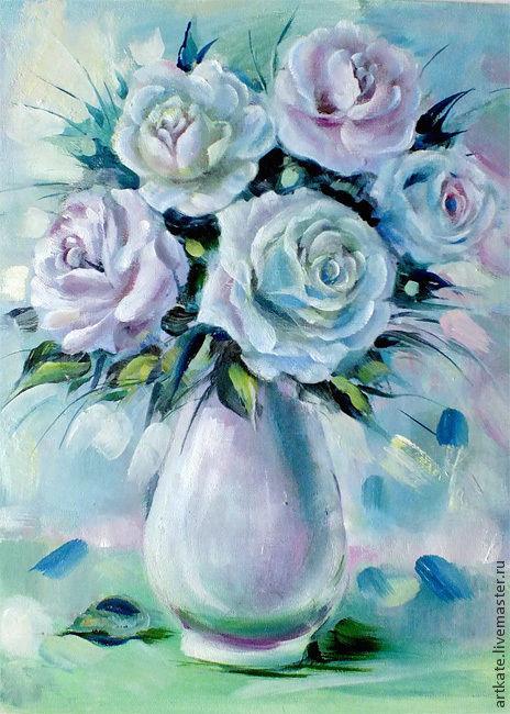 """Картины цветов ручной работы. Ярмарка Мастеров - ручная работа. Купить Картина маслом """"Белые розы"""". Handmade. Бледно-розовый"""