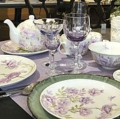 Посуда handmade. Livemaster - original item Painted porcelain chinoiserie table Set Lilac. Handmade.