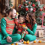 Работы для детей, ручной работы. Ярмарка Мастеров - ручная работа Комплект Family look пижамы для мамы, папы и малыша в новогоднем стиле. Handmade.