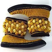 Обувь ручной работы. Ярмарка Мастеров - ручная работа Тапочки-сапожки Цвет горчицы, шерсть, р.38. Handmade.