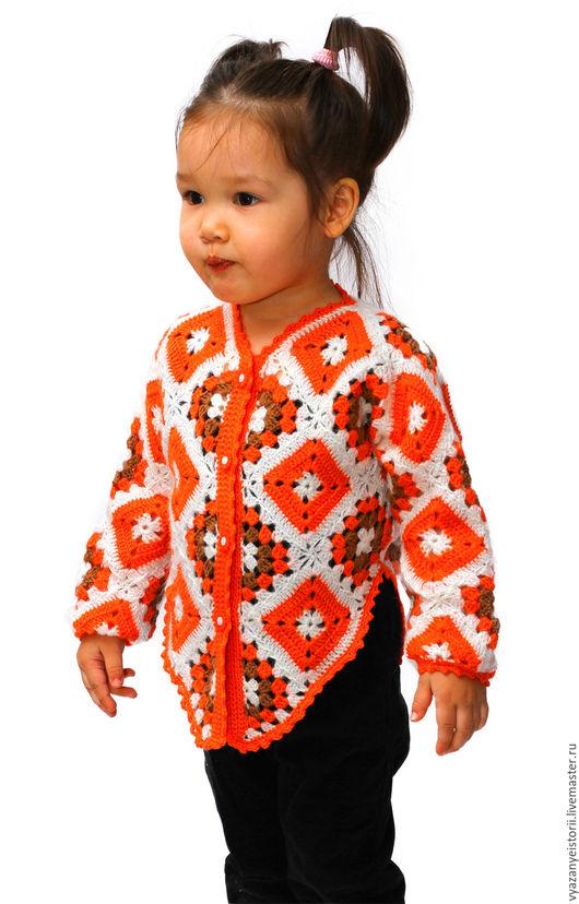 """Одежда для девочек, ручной работы. Ярмарка Мастеров - ручная работа. Купить Кофточка """"Апельсинка"""". Handmade. Рыжий, шерсть меринос"""