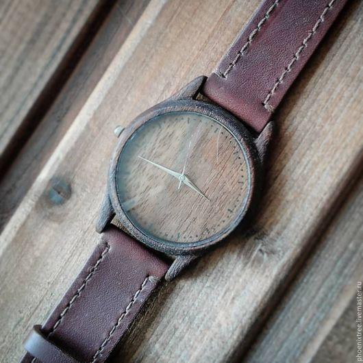 """Часы ручной работы. Ярмарка Мастеров - ручная работа. Купить Часы из дерева PT """"Krigan"""" (орех) наручные, коричневый ремешок. Handmade."""