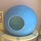 Для домашних животных, ручной работы. Ярмарка Мастеров - ручная работа Дом для кошек валяный Голубой шар. Handmade.