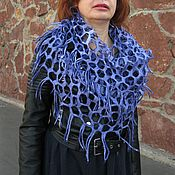 Аксессуары handmade. Livemaster - original item Purple Felted Snood Scarf Mesh Natural Silk Merino Wool. Handmade.