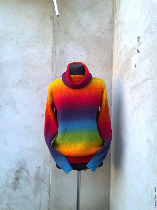 Кофты и свитера ручной работы. Ярмарка Мастеров - ручная работа. Купить Свитер радужный  100% шерсть. Handmade. Комбинированный