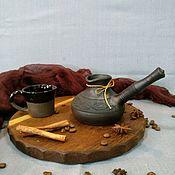 Посуда ручной работы. Ярмарка Мастеров - ручная работа Турка керамическая из термоударной глины для газовой или электроплиты. Handmade.