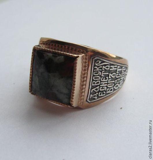 Кольца ручной работы. Ярмарка Мастеров - ручная работа. Купить Мужское кольцо с молитвой и камнем. Handmade. Серебряный, кольцо-оберег