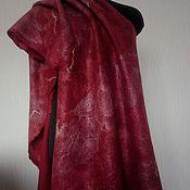 Аксессуары ручной работы. Ярмарка Мастеров - ручная работа Оригинальный подарок красный валяный палантин шаль шарф Лед и пламень. Handmade.