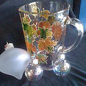 Посуда ручной работы. Ярмарка Мастеров - ручная работа стеклянная кружка с росписью осенняя. Handmade.