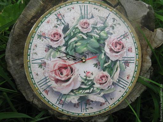 """Часы для дома ручной работы. Ярмарка Мастеров - ручная работа. Купить """"Пепельные розы"""". Handmade. Часы, кварцевые часы, кантри"""