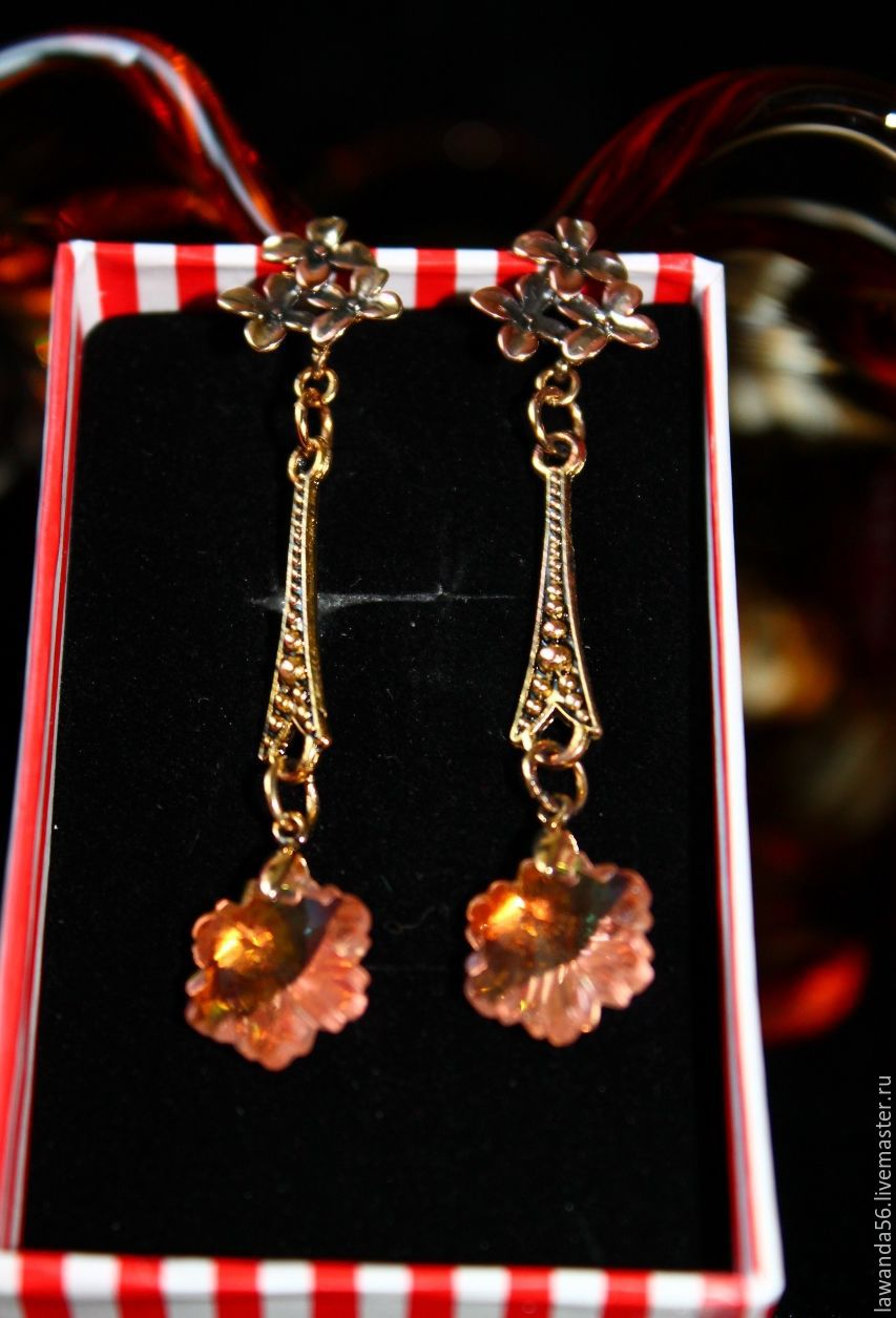Gold plated earrings with Swarovski black Judith, Earrings, Krasnoyarsk,  Фото №1