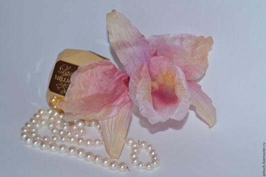 Цветы ручной работы. Ярмарка Мастеров - ручная работа. Купить орхидея Каттлея. Handmade. Кремовый, брошь, подарок на день рождения