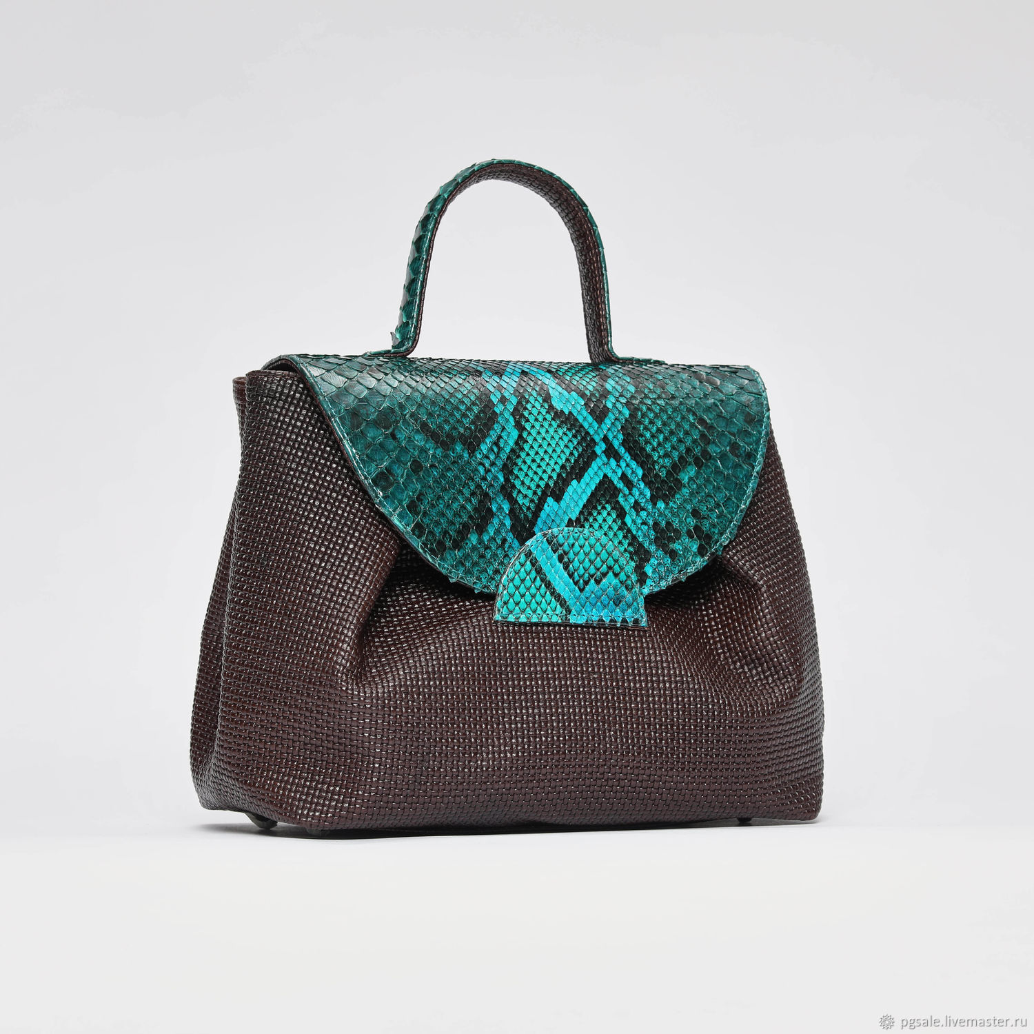 Bag made of natural Python and braided Italian leather, Classic Bag, St. Petersburg,  Фото №1