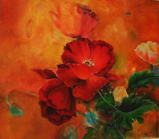 Картины цветов ручной работы. Ярмарка Мастеров - ручная работа. Купить Маки. Handmade. Маки, натюрморт с цветами, желтый