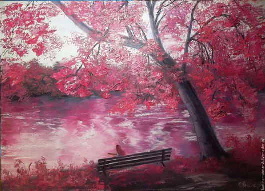 """Пейзаж ручной работы. Ярмарка Мастеров - ручная работа. Купить Картина маслом яркий пейзаж 50/70 """"Розовая мечта"""". Handmade."""