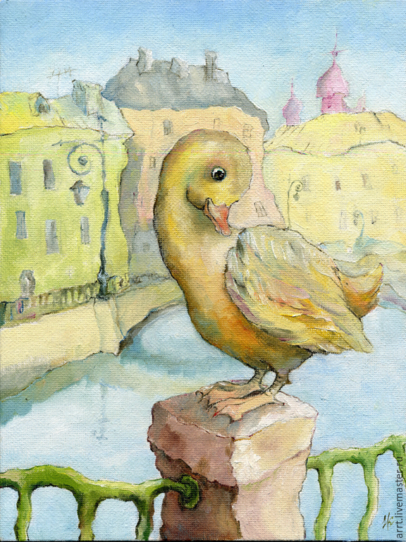 Duck on the canal Petersburg. Print 15h20 cm, Pictures, St. Petersburg,  Фото №1