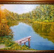 """Картины и панно handmade. Livemaster - original item Картина маслом """"Солнечное озеро"""".  масло холст пейзаж. Handmade."""