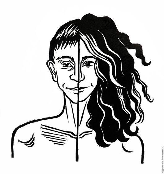 Люди, ручной работы. Ярмарка Мастеров - ручная работа. Купить Портрет в технике линогравюра. Handmade. Линогравюра, портрет на заказ, принт