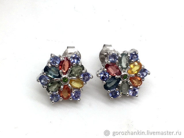 Poussettes 'Snowflakes' silver sapphire, Stud earrings, Moscow,  Фото №1
