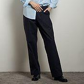Одежда handmade. Livemaster - original item Straight-cut Navy trousers for women. Handmade.