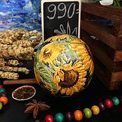 Для дома и интерьера ручной работы. Ярмарка Мастеров - ручная работа Подсолнухи, интерьерный шар ( музыкальная неваляшка). Handmade.