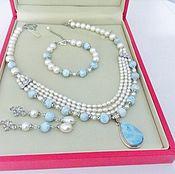 Украшения handmade. Livemaster - original item Jewelry set with larimar and pearls. Handmade.