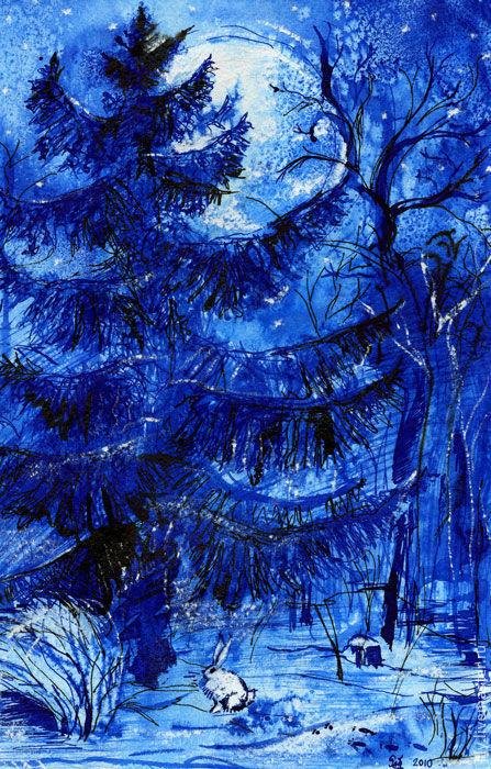 """Пейзаж ручной работы. Ярмарка Мастеров - ручная работа. Купить Картина """"Луна"""". Handmade. Зима, елочка, ель, луна, сказка"""