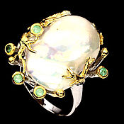 Украшения handmade. Livemaster - original item South sea ring with Baroque pearl and emeralds. Handmade.