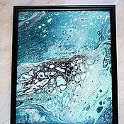 Картины ручной работы. Ярмарка Мастеров - ручная работа Картина Под водой в технике жидкий акрил (в раме или без). Handmade.
