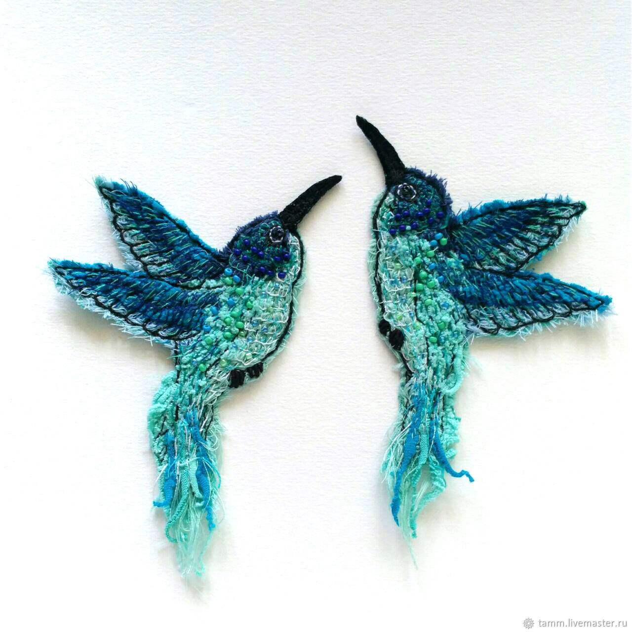 Set of author's handmade brooches Hummingbird Birds, Brooches, Tver,  Фото №1