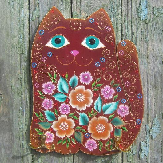 Животные ручной работы. Ярмарка Мастеров - ручная работа. Купить Цветочный котик Интерьерное панно с крючками. Handmade. Панно на кухню