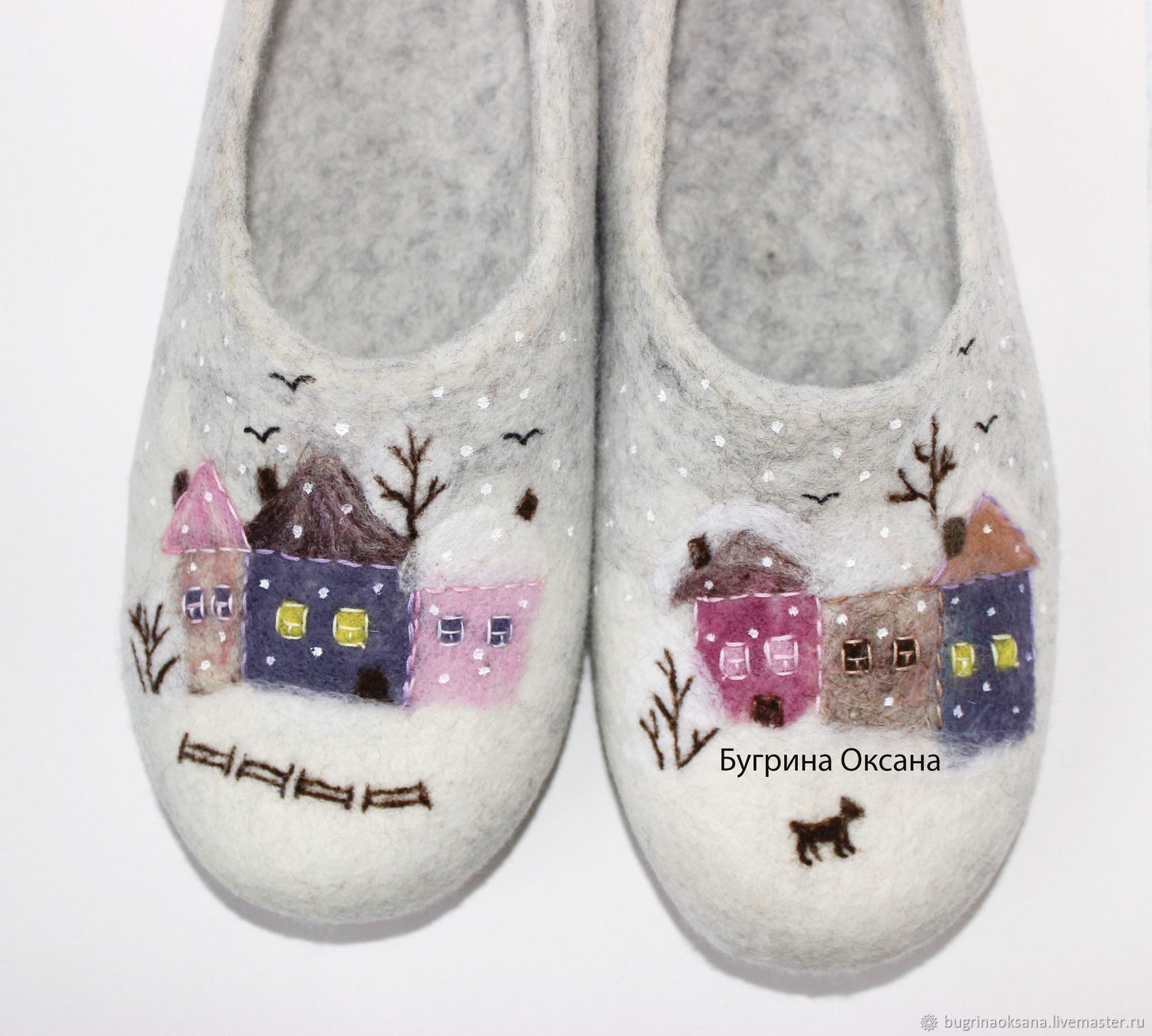 'HOUSES. The street of my childhood' 2 in explanation. Women's felted Slippers, Slippers, St. Petersburg,  Фото №1