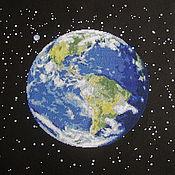Картины и панно ручной работы. Ярмарка Мастеров - ручная работа Вышивка крестом Планета Земля. Handmade.