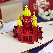 Открытки handmade. Livemaster - original item Sights of Moscow Temple3D handmade greeting card. Handmade.