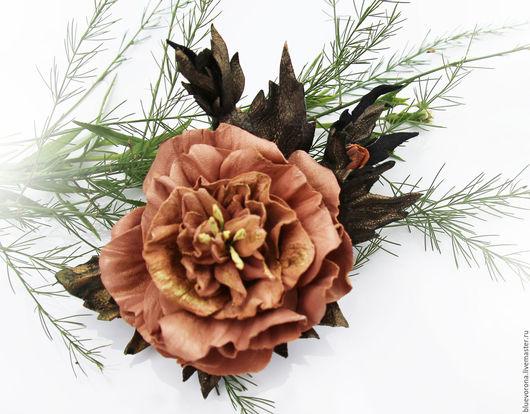 Броши ручной работы. Ярмарка Мастеров - ручная работа. Купить Брошь Английская Роза из кожи. Handmade. Бежевый, брошь из кожи