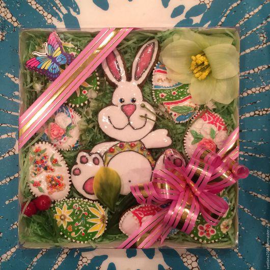 Подарки на Пасху ручной работы. Ярмарка Мастеров - ручная работа. Купить Подарок на Пасху из пряников. Пасха.Пасхальные яйца. Пасхальный заяц. Handmade.