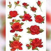 Материалы для творчества handmade. Livemaster - original item Embroidered appliqué red roses. Patch on clothes. Handmade.