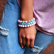 Украшения handmade. Livemaster - original item A set of bracelets from agate delicate shades