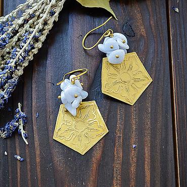 Decorations handmade. Livemaster - original item Brass boho earrings with sapphirine Earrings with blue agate geometry. Handmade.